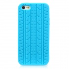 Protective Soft Silicone Tire Grain Back Case Cover for iPhone 5 - Light Blue