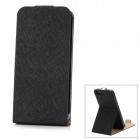 Protective PU Leather Case w/ Holder for iPhone 5 - Black
