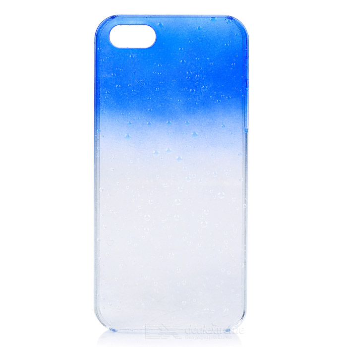 Protective Plastic Rain Drop Case for Iphone 5 - Transparent Blue + Transparent protective plastic rain drop case for iphone 5 transparent blue transparent