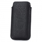 Edge Paint Protective PU Leather Case w/ Strap for Iphone 5 - Black