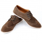 Jike Fashionable Suede Pigskin Casual Shoes for Men - Coffee (Euro Size 43)