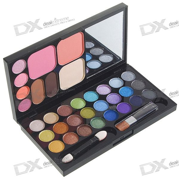 Professional Makeup Foundation + Eyeshadows + Rouges + Brushes Case