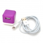AC Power Adapter + USB Data / Charging 8-Pin Lightning Cable for iPhone 5 - Purple + White (US Plug)