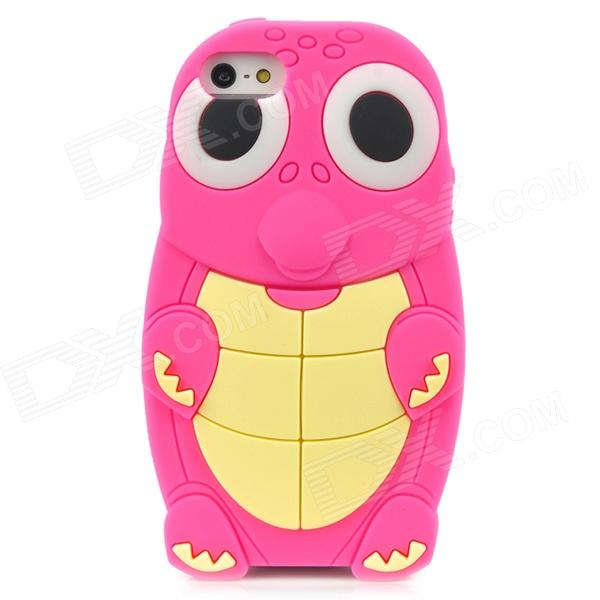 Cute Cartoon Turtle Style Protective Silicone Case for Iphone 5 - Deep Pink + Yellow cute cartoon turtle style protective silicone back case for iphone 4 4s yellow