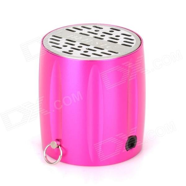 ST-605 Mini Rechargeable USB Music Speaker w/ TF / APE / WAV / FM - Deep Pink + Silver