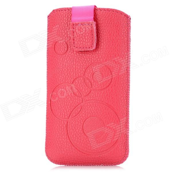Circle Pattern Protective PU Leather Case w/ Strap for Iphone 4 / 5 / 4S - Rosy circle pattern protective pu leather case w strap for iphone 4 5 4s red