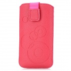 Circle Pattern Protective PU Leather Case w/ Strap for Iphone 4 / 5 / 4S - Rosy