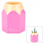 DELI 9145 Stylish PC Pencil Pen Holder - Deep Pink + Wood