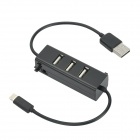 3-Port USB 2.0 Hub w/ Lightning 8-Pin Male for iPad Mini / iPad 4 / iPhone 5 / iPod Touch 5 - Black