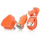 UK Plug AC Power Charger Adapter + Car Charger w/ USB Male to 30-Pin Male Cable for iPhone - Orange