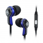 SONGQU SQ-105P In-ear Style Stereo Earphones w/ Microphone - Black + Blue (3.5mm Jack / 120cm)