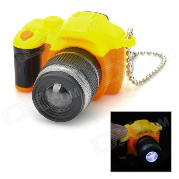 SLR Telephoto Lens LED White Light Keychain w/ Sound Effect - Yellow + Black + Orange (3 x AG13) slr telephoto lens led white light keychain w sound effect yellow black orange 3 x ag13
