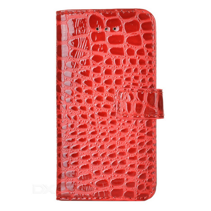 Crocodilia Pattern Protective PU Flip-open Case w/ Holder + 3 Card Slots for Iphone 5 - Red cool protective pc case w clip for iphone 5 black
