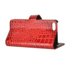 Crocodilia Pattern Protective PU Flip-open Case w/ Holder + 3 Card Slots for Iphone 5 - Red
