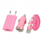 3-in-1 Car Powered Charger + USB Data/Charging Cable + Power Adapter Set for iPhone - Pink