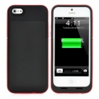 External 2200mAh Battery Matte Back Case for iPhone 5 - Black + Red