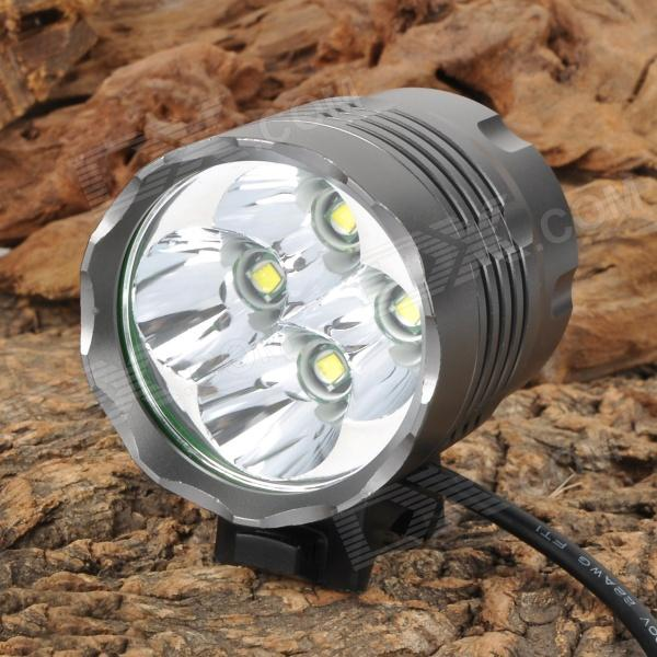 2800lm 3-Mode White Bicycle Headlamp w/ 4 x Cree XM-L T6 - Grey 600lm 3 mode white bicycle headlamp w cree xm l t6 black silver 4 x 18650