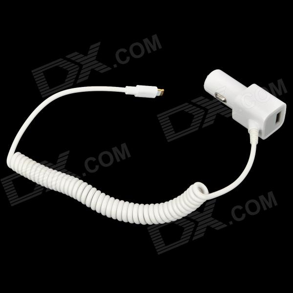 Car Charger w/ USB Output / Lightning 8-Pin Male Cable for iPad Mini / iPad 4 / iPhone 5 - White