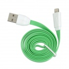 USB 2.0 to 8 Pin Lightning Flat Charging & Data Cable for iPhone 5 / iPad 4 - Green (1m)