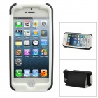Cool Protective Plastic Back Case w/ Stand for Iphone 5 - Black + White