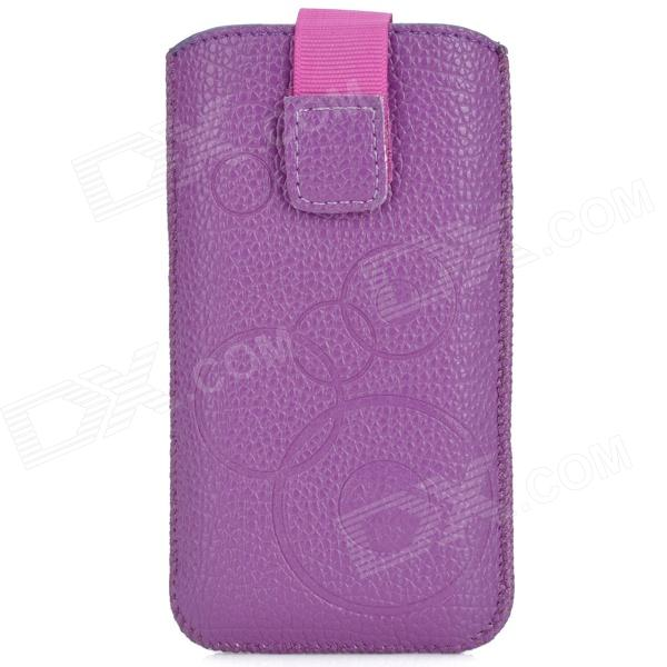 Protective PU Leather Pouch Case for Iphone 5 / Iphone 4 / Iphone 4S - Purple protective pu leather plastic case w display window for iphone 4 4s maroon