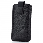 Circle Pattern Protective PU Leather Case w/ Strap for Iphone 4 / 5 / 4S - Black