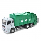 YiBao 9535-4 1:32 Scale Zinc Alloy + ABS Garbage Truck Car Model Toy - Green + White + Black
