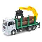 YiBao 9535-1 1:32 Scale Zinc alloy + ABS Wood Transport Truck Crane Model - White + Green + Yellow