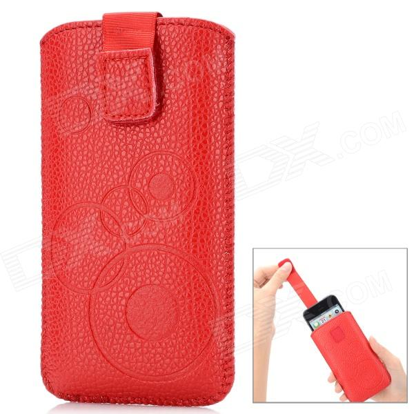 Circle Pattern Protective PU Leather Case w/ Strap for Iphone 4 / 5 / 4S - Red circle pattern protective pu leather case w strap for iphone 4 5 4s red