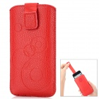 Circle Pattern Protective PU Leather Case w/ Strap for Iphone 4 / 5 / 4S - Red