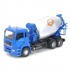 YiBao 9535-6 1:32 Scale Plastic Mixer Truck Car Model Toy - Blue + Silver + Black