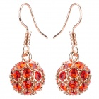MaDouGongZhu R092-10 Fashionable Alloy + Rhinestone Ear Studs - Red + Golden (Pair)