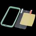 Protective Silicone Bumper Frame Case w/ Screen Protector for Iphone 5 - Light Green