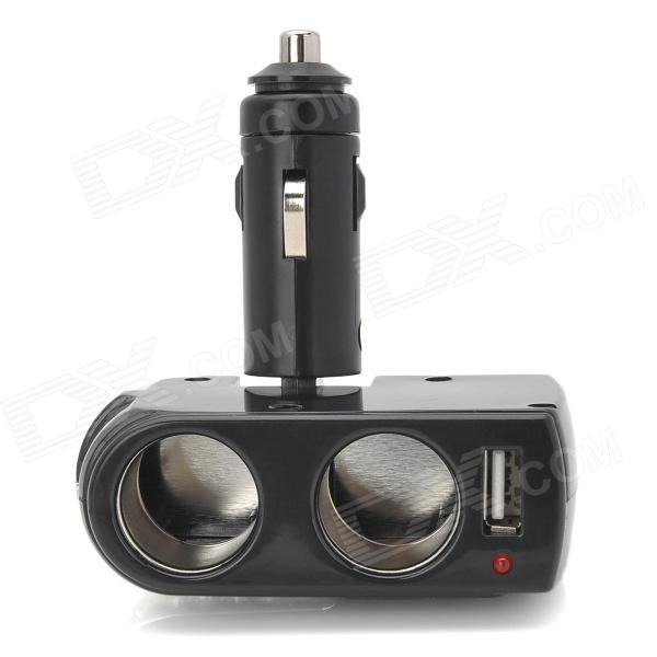 LSON USB Dual Car Cigarette Sockets Rhinestone Power Adapter - Black (DC 12~24V)