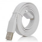 Flat Lightning 8-Pin Male to USB 2.0 Male Data Sync / Charging Cable for iPhone 5 - White (100cm)