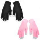 Couple' s Capacitive Screen Touching Hand Warmer Gloves - Black + Pink (2 Pairs)