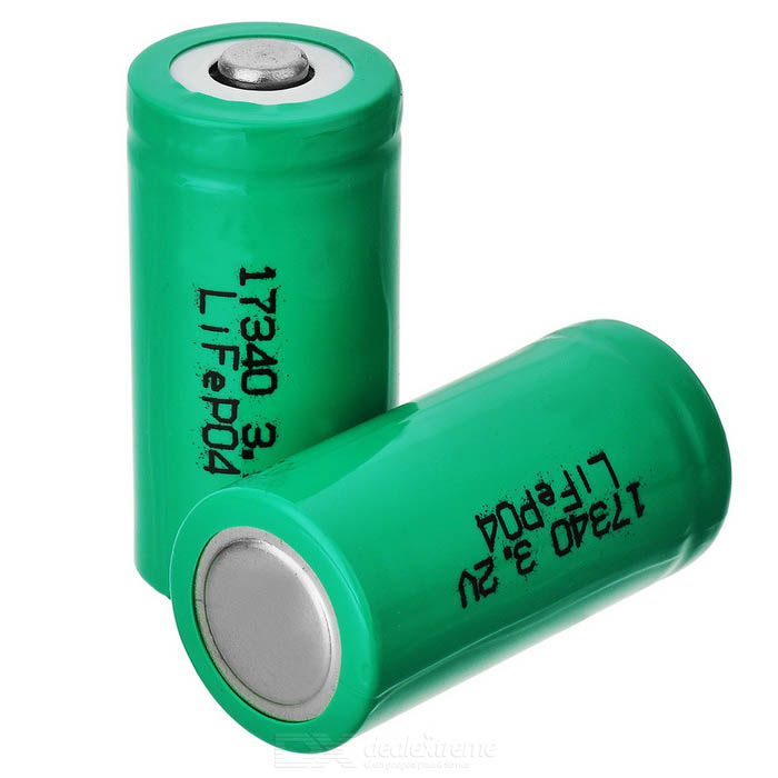 17340 / CR123A Rechargeable Lithium LiFePO4 Battery 2PCS (350mAh)