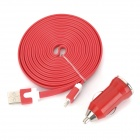 Car Cigarette Lighter Charger w/ Lightning 8-Pin to USB 2.0 Cable for iPhone 5 - Red (DC 12~24V)