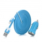 USB Male to Lightning 8-Pin Male Flat Data Cable + Car Charger Set for iPhone 5 / iPad 4 - Blue