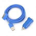 Car Charger + 30-Pin Male to USB Male Data Sync / Charging Cable for iPhone 3GS / 4 / 4S - Deep Blue