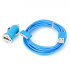 Car Charger w/ 30-Pin Male to USB Male Cable for iPhone / iPod Touch / iPad - Light Blue (DC 12~24V)