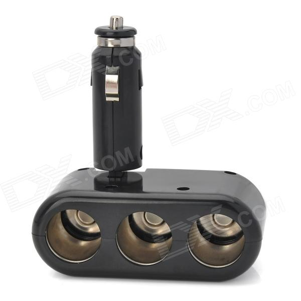 LSON Triple Car Cigarette Sockets Power Adapter - Black (DC 12~24V)