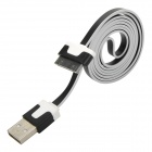 30-Pin Male to USB Male Data Sync / Charging Cable for iPhone / iPad / iPod - Black + White (100cm)