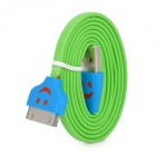 Smile Pattern Flat Charging Data Cable w/  Light for iPhone + iPad + iPod - Green + Blue (100CM)
