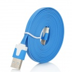 Flat Lightning 8-Pin Male to USB 2.0 Male Data / Charging Cable for iPhone 5 - Sky Blue (200cm)
