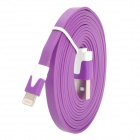 Flat Lightning 8-Pin Male to USB 2.0 Male Data Sync / Charging Cable for iPhone 5 - Purple (200cm)