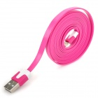 Flat Lightning 8-Pin Male to USB Male Data Sync / Charging Cable for iPhone 5 - Deep Pink (200cm)