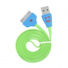 USB to Apple 30 Pin Charging & Data Cable w/ Lighting Smiling Face for iPhone 4 - Green (100cm)