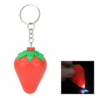 Cute Strawberry Style Plastic 1-LED White Light Keychain - Red + Green (3 x LR41)