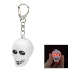 SB331 Cool Skull Head Style 2-LED Red Light Keychain w/ Sound Effect - White + Black (2 x AG10)